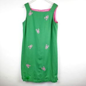 Green Pink lobster linen dress size 16